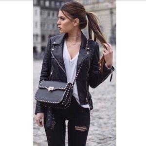 Jackets & Blazers - Black Vegan Leather Moto Jacket